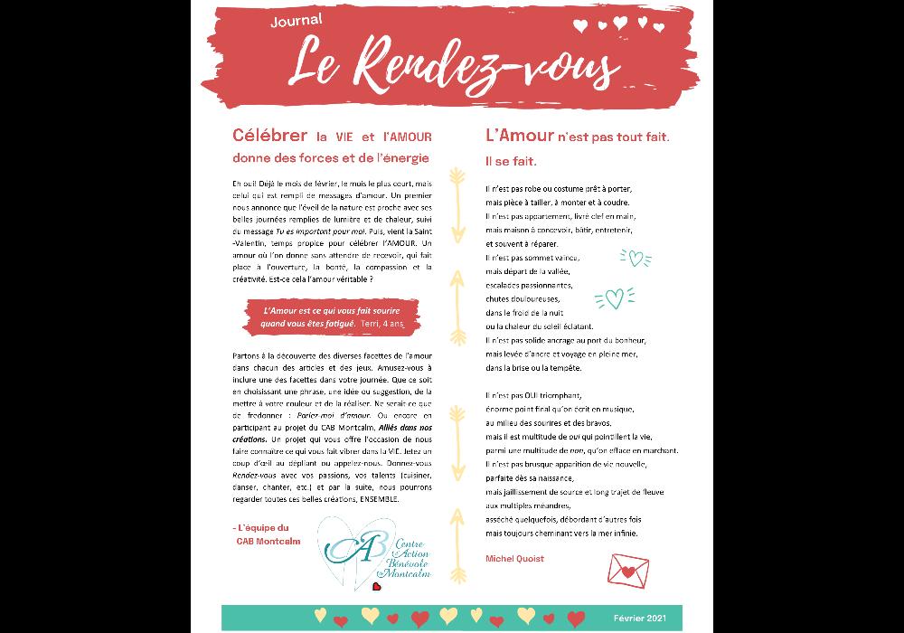 Journal Le Rendez-vous : célébrer la vie et l'amour !