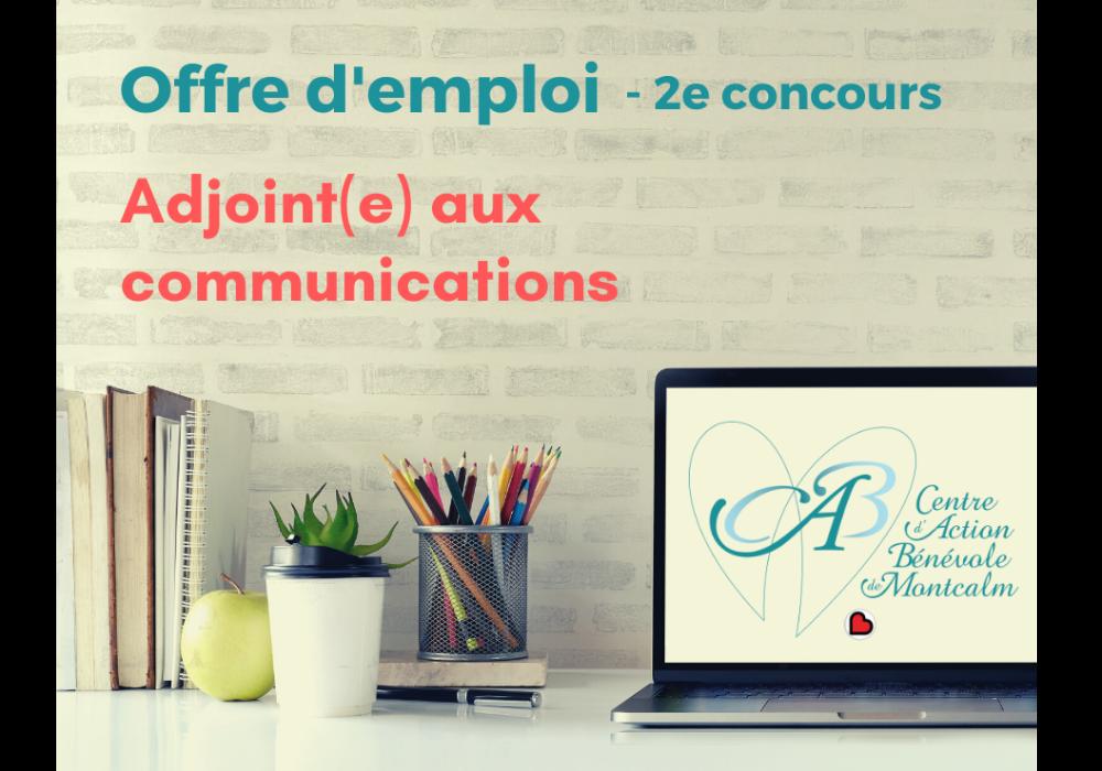 Offre d'emploi - Adjoint(e) aux communications - 2e concours